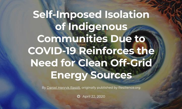 Self-imposed isolation of indigenous